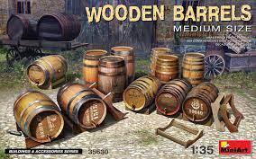 1/35 Wooden Barrels. Medium Size
